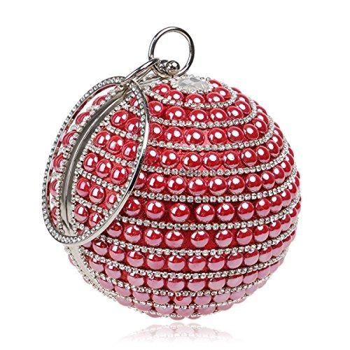 Strawberryer Europe Et Les Etats-Unis Mode Ronde Ladies Sac à Main Nightclub Evening Colorful Dinner Decorative Clutch red