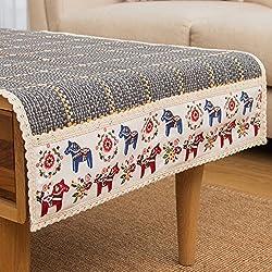 Tovaglia Nordic semplice tè multifunzione Storage Table Mats Mat contenente un panno di stoffa multicolore frigorifero,raffinato reticolo grigio,50*150cm