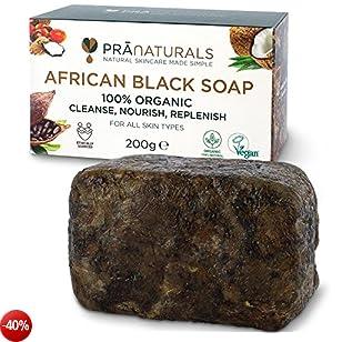 PraNaturals Sapone Nero Africano 200g, Organico Cosmetici Vegan Per Tutti I Tipi Di Pelle, Lavorato