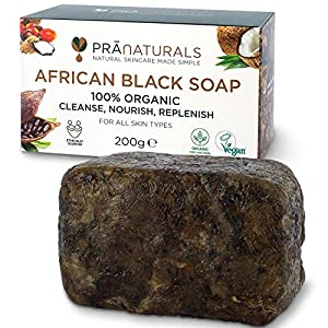 PraNaturals 100% Organic Raw African Black Soap 200g, Ethically Sourced and Handcrafted in Ghana, For All Skin Types, Detoxifying and Anti-Ageing All Pure Natural, Vegan, Unprocessed
