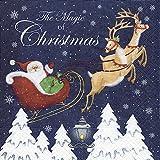 20 Servietten 33 x 33 cm Weihnachten Santa Claus Rentier Weihnachtsmann Rentierschlitten