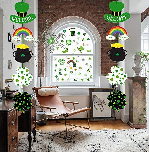 Day Dekorationen; 64 St.Patrick's Day Fensteraufkleber Kleeblatt deko Wandtattoo Fensterbilder -2 2 Stück St. Patrick's Day Motto hängende Willkommensschild Dekoration Party ()