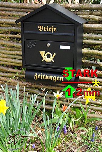 Cassetta delle lettere XXL, zincato con antiruggine S/AP grande in nero antracite scuro giornale scomparto giornali Post antico Mailbox scudo