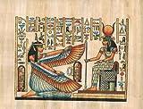 HANDBEMALT in Ägypten natur Papyrus Malerei, Göttin Isis Göttin der Liebe, Mutterschaft, Magic und Fruchtbarkeit mit ihr Flügel Göttin hathore offen, War Eine Göttin der Musik, Tanz, Fremden Ländern und Fruchtbarkeit, die Frauen geholfen, in Geburt. Größe 19,8x 30cm
