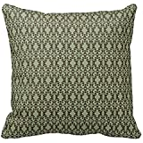 DNTONTIN Home Decorative Sage Olive Green and Brown Ornate Damask Pattern Pillow Throw Pillow Cover Cushion Case 18
