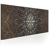 decomonkey | Bilder Mandala 150x50 cm 1 Teilig Leinwandbilder Bild auf Leinwand Vlies Wandbild Kunstdruck Wanddeko Wand Wohnzimmer Wanddekoration Deko Orient Abstrakt Zen braun