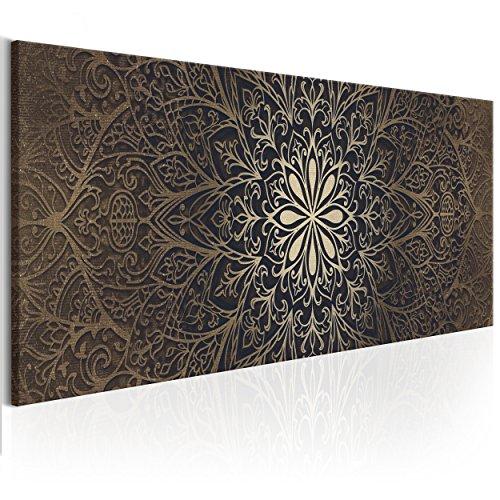 decomonkey Bilder Mandala 150x50 cm 1 Teilig Leinwandbilder Bild auf Leinwand Wandbild Kunstdruck Wanddeko Wand Wohnzimmer Wanddekoration Deko Orient Abstrakt Zen braun
