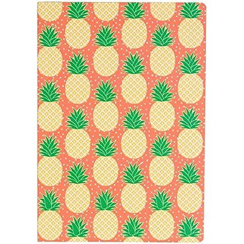 Piña A5 melocotón cuaderno verde libreta diario de verano tropical Sass & Belle