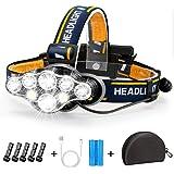 Stirnlampe, Superheller Kopflampe 18000 Lumen 8 LED 8 Modi mit Rotem Warnlicht, USB Stirnlampe Wiederaufladbare Wasserdicht,