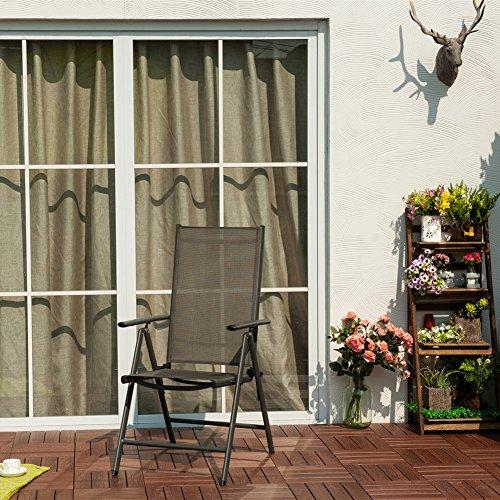 Terrasse Balkonmöbel 2-er Set Stuhl, 7-fach verstellbar Klappsessel
