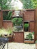 Sichtschutzwand Garten aus Holz mit Weide- und Spiegelelementen (modulares System)