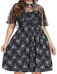 2cf2ed0a3c VEMOW Herbst Frühling Kleid Elegante Damen Frauen Lose Halloween Party  Cobweb Print Garn Langen Ärmeln Casual