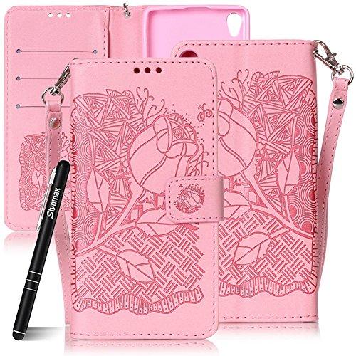 SlynmaxSchutzhülle für Sony Xperia XA Smartphone 5 Zoll Hülle PU Leder Tasche Flip Cover Case Wallet Rosa Blumen Hand Strap Lederhülle Lanyard Handyhülle Stand Ständer Karte Klapphülle (Pink)