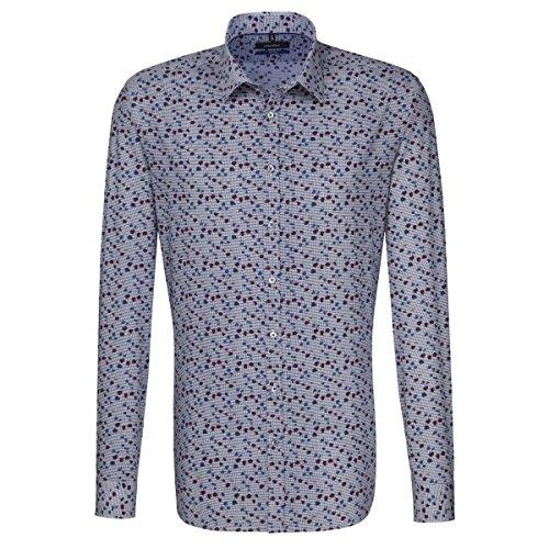 SEIDENSTICKER Herren Hemd Tailored 1/1-Arm Bügelleicht City-Hemd Kent-Kragen Kombimanschette weitenverstellbar blau (0016)