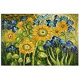 Girasoles y Iris Cuadro pintura al oleo realizada a mano sobre lienzo montada sobre bastidor estetico