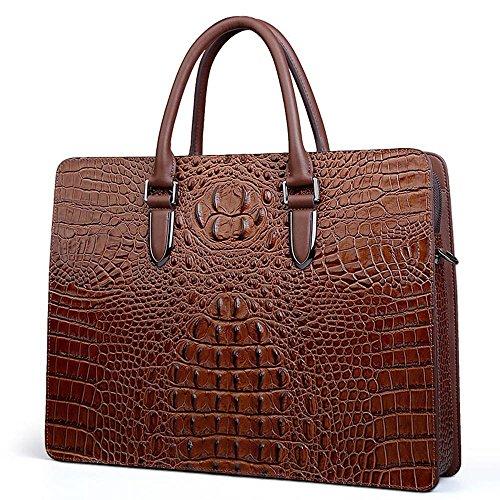 COWOCC Krokodil Muster wirklich Leder Luxus Design Aktentasche Männer Handtasche Männer Schulter Umhängetasche Leder Fashion Trend Männer Tasche, braun
