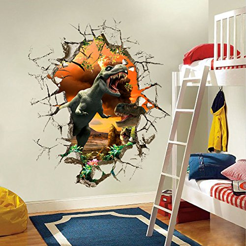 Pegatina de pared adhesiva efecto 3D dinosaurios 50x50 cm