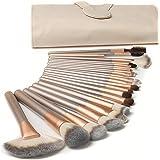 18 Pezzi Pennelli Trucco Set di Pennelli Trucco Con Custodia da Viaggio Manico in Legno Professionale Pennello Kabuki in Fibr