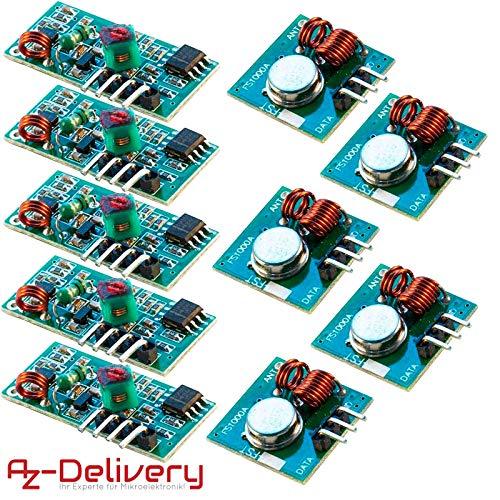 AZDelivery ⭐⭐⭐⭐⭐ 433 MHz Juego de - Módulo emisor y receptor inalámbricos para Raspberry y Arduino Wireless Transmisor Receptor 5 x 433 MHz Set