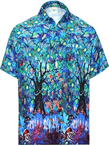 Scary Kostüm Cool - HAPPY BAY Hawaiihemd Grusel Ghosts Witch Party Festliche Pumpkin Männer Taste gedrückt Strand Shirt Kurzarm Kragen Fronttasche Halloween Kostüm Scary Schädel Geist Shirt für Männer Blau_AA239 XXL