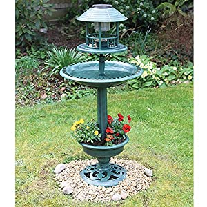 Verdigris Solar Garden Bird Bath and Planter