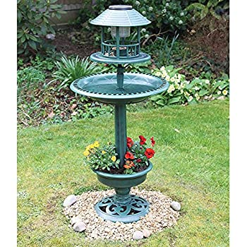 Verdigris Solar Garden Bird Bath And Planter Amazon Co Uk Garden