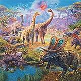 Bunter Stoff mit Dinosauriern von Robert Kaufman