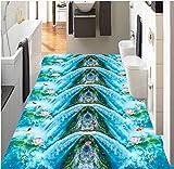Yosot 3D-Boden Wandbild Wasserfall Lotus Tintenfisch 3D Tapete Wohnzimmer Badezimmer Schlafzimmer Swimming Pool 3D Vinyl-Bodenbelag -200cmx140cm