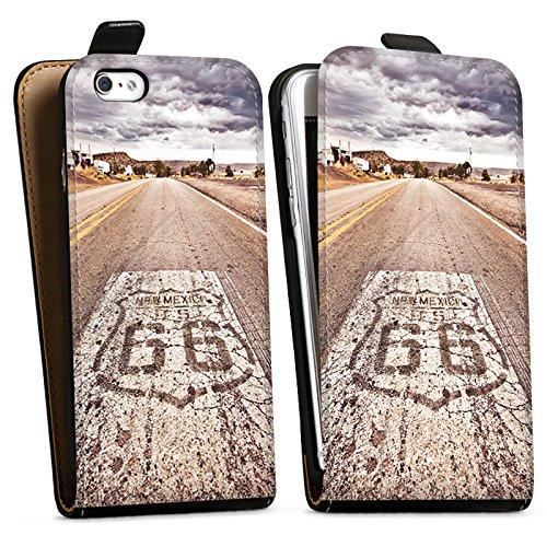 Apple iPhone 8 Hülle Case Handyhülle USA Biker Strasse Downflip Tasche schwarz