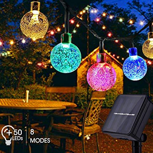 catena luminosa esterno solare, fochea 7m luce stringa solare di crystal globe impermeabile 8 modalità per giardino, portico, albero, matrimonio, festa, pergole, natale (multicolore)