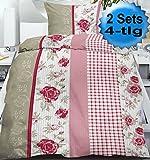 4-tlg. Seersucker Bettwäsche 2x 135x200 +80x80cm, Karo Blüten, bügelfrei, Microfaser (60430)