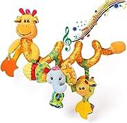 ORZIZRO Car Seat Toys, Baby Giraffe Plush Spiral Hanging Toys for Crib Bar Bassinet Stroller Car Seat Mobile multicolored LS