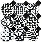 Mosaik Fliese Keramik Octagon MISTO weiß glänzend schwarz für WAND BAD WC DUSCHE KÜCHE FLIESENSPIEGEL THEKENVERKLEIDUNG BADEWANNENVERKLEIDUNG Mosaikmatte Mosaikplatte