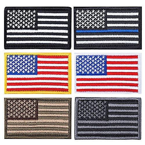 SMAGREHO 6 x taktisches Klett Patch militärischer Abzeichen, Flagge, mit Stickerei und Klettband für Airsoft Paintball Lasergame (Flagge Usa Patch)