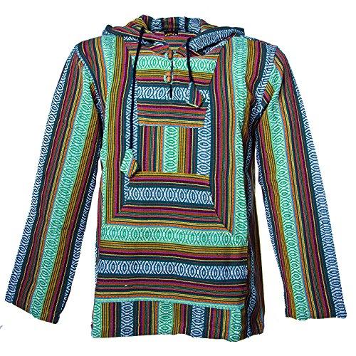 Kunst Hoodie (Kunst und Magie Herren Nepal Baja Hoodie Pullover Sweatshirt Poncho , Größe:L, Farbe:Grün)