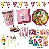 Party-Set für 10 Kinder BIBI UND TINA für Kindergeburtstag und Motto-Party mit Teller + Becher + Servietten + Trinkhalme + Konfetti