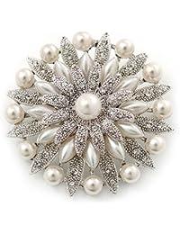 Broche vintage Estilo Floral para novia con perlas blancas simuladas y cristales Swarovski en capa con en platinado de rodio de rodio
