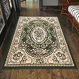 Carpeto Klassischer Orientteppich & Perserteppich mit Orientalisch Ornamente Muster Kurzflor in Grün/Top Preis - ÖKO Tex (60 x 100 cm)
