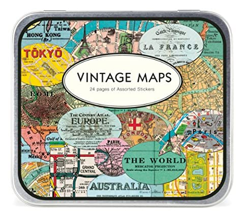 Cavallini & Co. Vintage Maps Decorative Stickers in a Tin - Assorted (24 Sheets)