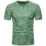 Rawdah Nouveau Mode T-Shirt à Manches Courtes Brossé Couleur Unie Été Confort Sportswear Loisirs Summer Casual Soid Trou V Neck Pullover T-Shirt Top Blouse (XXL, Vert)