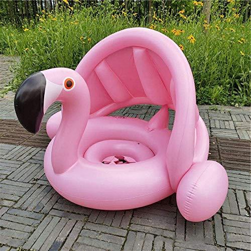 TISS Flotteur de Piscine de bébé, Anneau de Natation Gonflable réglable de Chambres de Double Inflation avec la Protection Gonflable de Taille 70 * 90 * 63CM (Color : Pink)