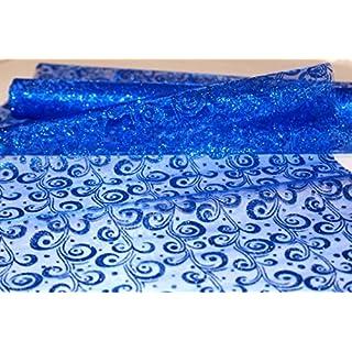 AeMBe - Blaue Tischläufer aus Vliesmaterial, Tischband - Breite: 39 cm - Rolle 4,5 Meter - Blaue Farbe mit Glitzer