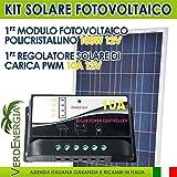 EurSolar - Kit de Panel Solar con módulo policristalino, 100W, 12V, con regulador PWM, 12V, 10A, sistema para caravana, barco, cabaña