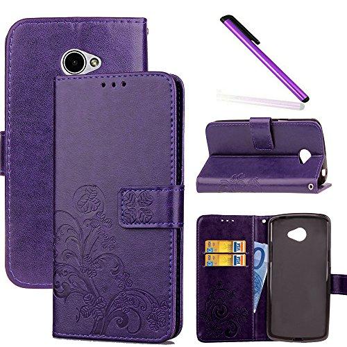 COTDINFOR LG K5 Hülle für Mädchen Elegant Retro Premium PU Lederhülle Handy Tasche im Bookstyle mit Magnet Standfunktion Schutz Etui für LG K5 Clover Purple SD