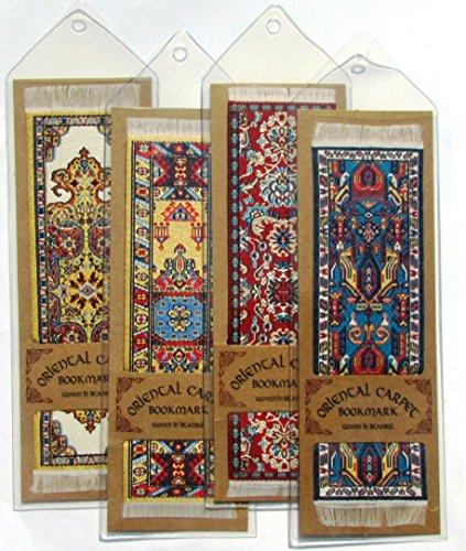 Oriental tappeto segnalibri-Autentico tappeto tessuto (set da 4) design assortiti