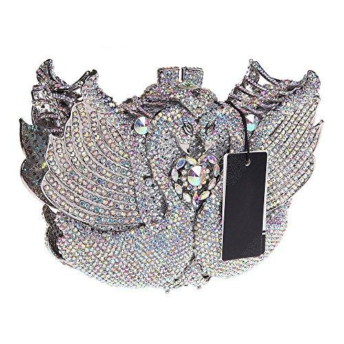 Santimon Donna Pochette Borsa 3D Cigno Strass Diamante Cristallo Borsetta Borse Da Festa di Nozze Sera Con Tracolla Amovibile 4 Colori argento