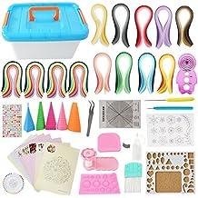 TODO en uno Kit para filigranas juego completo de papel para filigranas con 2980tiras + herramientas necesarias + caja de almacenamiento maleta para principiantes, avanzados Quiller, niños y adultos