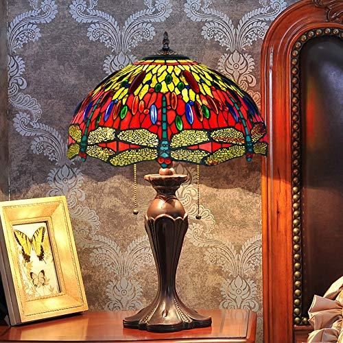 MTCTK 16 Zoll 2 Lichter Tiffany Stil Tischlampe Dragonfly und Bunte Perlen Wohnzimmer Bett Beleuchtung Dekoration Kunst Schreibtisch Lampe -