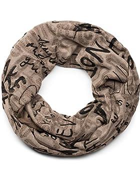 styleBREAKER fular de tubo con motivo de caracteres en diseño vintage desgastado, chal, pañuelo, unisex 01017038