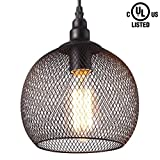 #7: Citra 1-light Antique Black Metal Ball Shade Hanging Pendant Ceiling Lamp Fixture